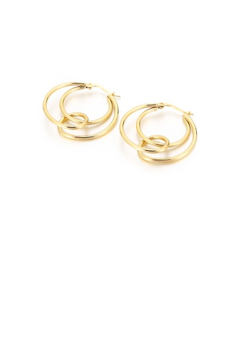 Glamorousky silver Fashion Simple Plated Gold 316L Stainless Steel Geometric Circle Earrings 35705AC0E81088GS_1
