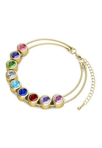 Her Jewellery multi Chromatic Bracelet (Yellow Gold) -  Embellished with Crystals from Swarovski® 4219FAC60BFDECGS_1
