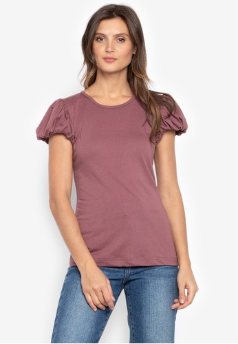 moondaze pink Jewel Puff Sleeves Top 7DA1AAA05B6371GS_1