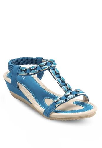 閃石繞踝楔形涼鞋, esprit 雨傘女鞋, 鞋