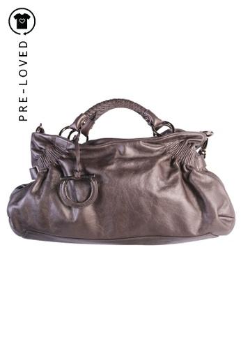 SALVATORE FERRAGAMO grey salvatore ferragamo Metallic Grey Tote Bag 89D6CAC09E0C90GS_1