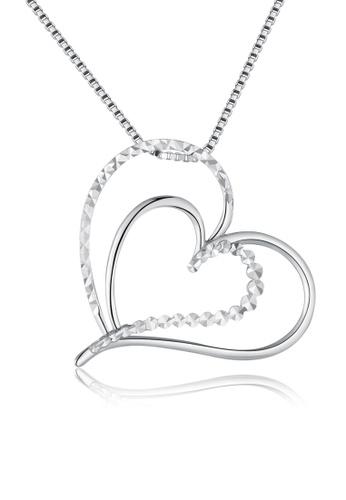 MaBelle silver 14K/585 White Color Gold Hearts Pendant Necklace 42A1BAC0C09CE8GS_1
