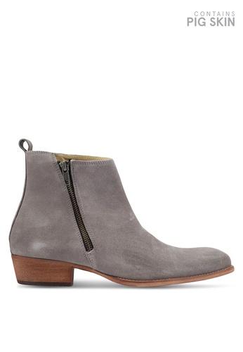 Topman grey Int South Zip Boots TO413SH0T1JCMY_1