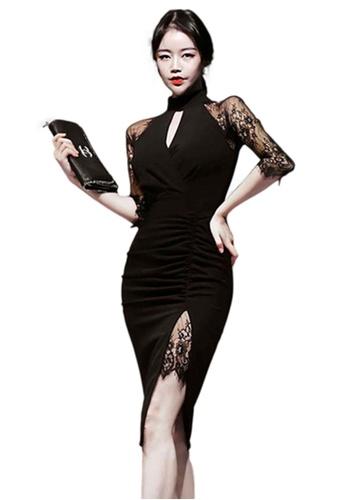 Sunnydaysweety black Lace Mock Neck Dress CA052026 88562AA230B89AGS_1