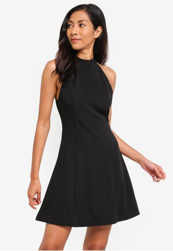 ZALORA BASICS black Basic Halter Mini Dress D99FCAA12383E1GS_1