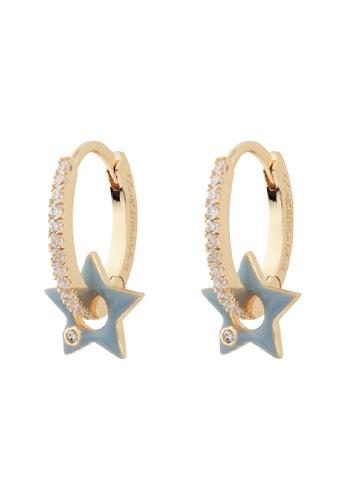 Wanderlust + Co gold Star Blue & Gold Hoop Earrings C66AFAC9C84AF6GS_1