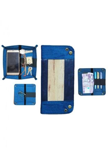 Jacinto and Lirio blue Guhit Vegan Leather Valet Tray Organizer Wallet Pencil Case, Glasses Case EDECEHLE259087GS_1