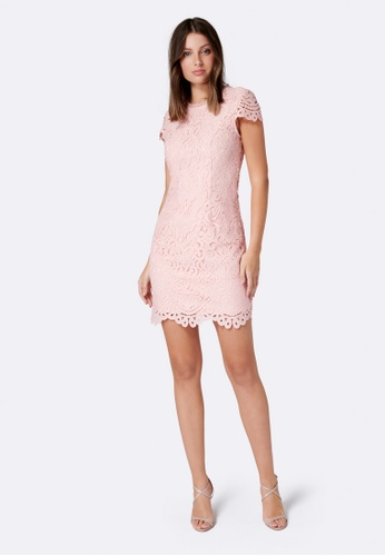 Forever New pink Nicki Short Sleeve Lace Mini Dress 08AB6AA51D315AGS_1