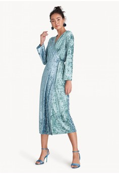Midi Two Tone Velvet Wrap Dress - Turquoise