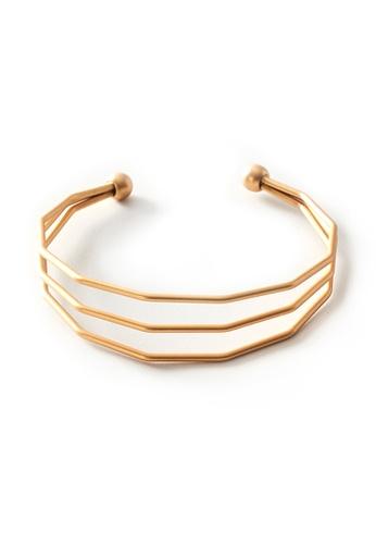 Gung Jewellery gold Paza Angular Cuff in Matte Gold D28DBACC15674BGS_1