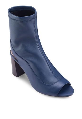MELON 彈性露趾粗跟踝zalora 心得靴, 女鞋, 鞋