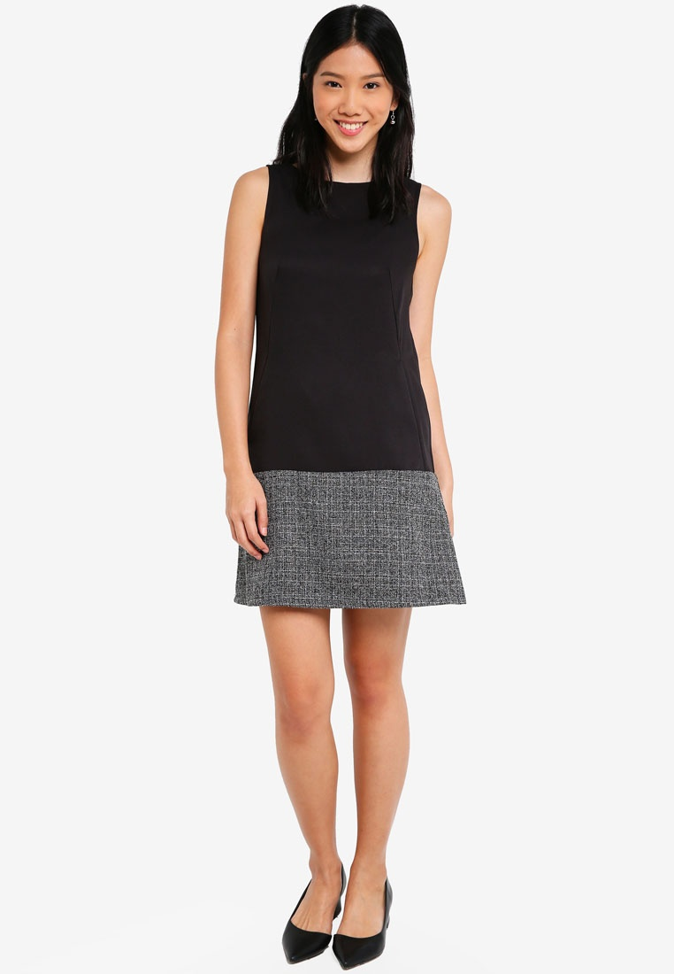 Black Block ZALORA A Panel Tweed Line Dress BASICS x1TqwYR7