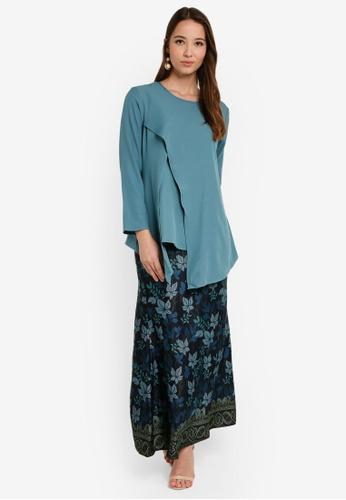 Asymmetric Layered Kurung from Aqeela Muslimah Wear in Blue