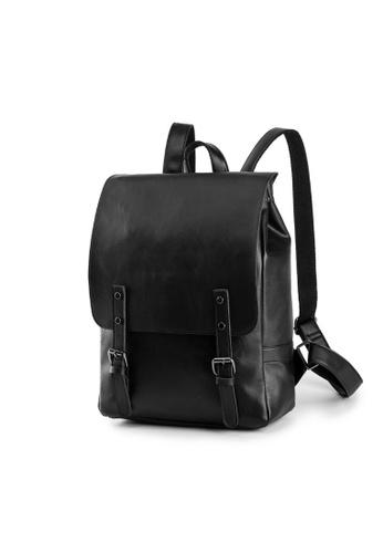 Lara 黑色 男士皮革學生背包電腦包 - 黑色 1E4FEAC511F52DGS_1