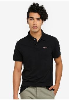 338fa5d23 Hollister black Heritage Solid Polo Shirt 26CB1AA7B09F71GS 1