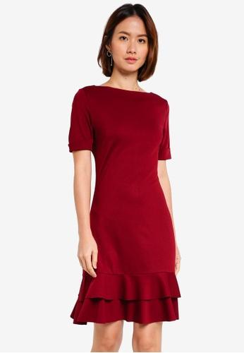 ZALORA red Ruffle Hem Dress 4082CAA3D8F2BBGS_1