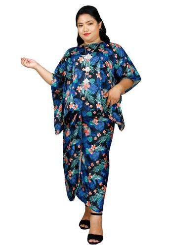PANGOI blue PANGOI RAYA Premium PLUS SIZE/ FREE SIZE Silk Kaftan Pareo Blue Forest BD6DBAAC929310GS_1
