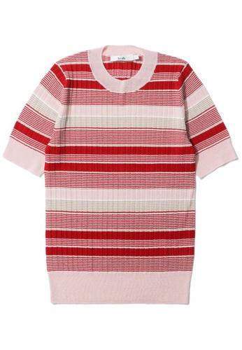 b+ab red Stripe knit tee DD9E0AA2D7388FGS_1