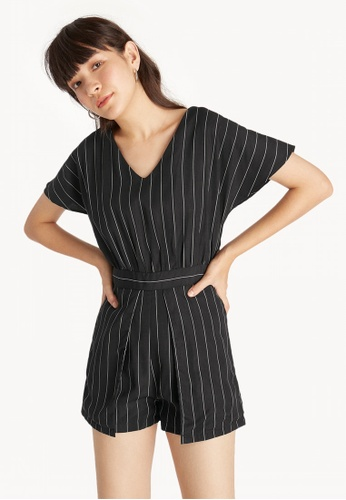 9cec20e4307e Shop Pomelo Short Sleeve Pinstripe Romper Online on ZALORA Philippines