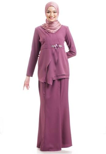 Ashura purple Desiya Kurung With Asymmetrical Flares 25FE1AA11572A0GS_1