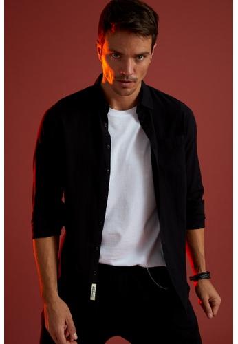 DeFacto black Man Woven Long Sleeve Shirt A03E6AA9594534GS_1