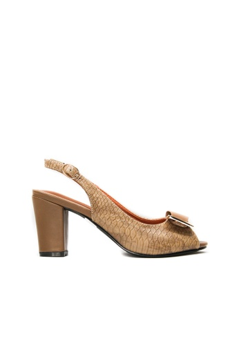 SEMBONIA brown SEMBONIA Synthetic Leather Heeled Sandal (Camel) 51FFBSH0573457GS_1