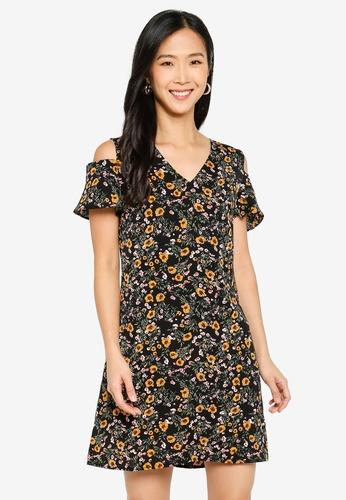 ZALORA BASICS multi V-Neck Cold Shoulder Dress B46E0AA7E0331AGS_1