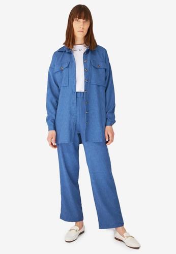 Trendyol blue Pocket Shirt Top & Bottom Set 45FF7AAD162383GS_1