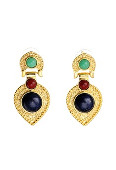 Aztec Gold with Red Green and Blue Stone Earrings
