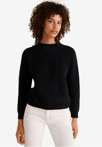 Mango black Ribbed Cotton-Blend Sweater 462F1AAE6BF59AGS_1