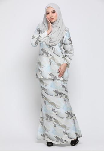 Kurung Moden Eryna - Soft Blue from Nur Shila in Blue