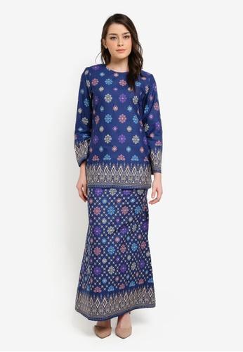 Butik Sireh Pinang blue Aiinia Cotton Short Modern Kurung with Songket Print BU003AA0S26DMY_1