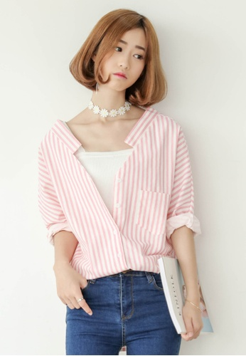 8aa8e3558916 Shopsfashion white and pink V-Neck Loose Fit Shirt in Pink Strip  SH656AA0FTRUSG 1