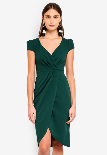 Goddiva green Front Pleat Tulip Midi Dress 5C33FAA3064DDEGS_1