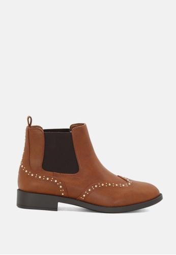 London Rag 褐色 钉钉装饰踝靴 4DB41SH80DCA87GS_1