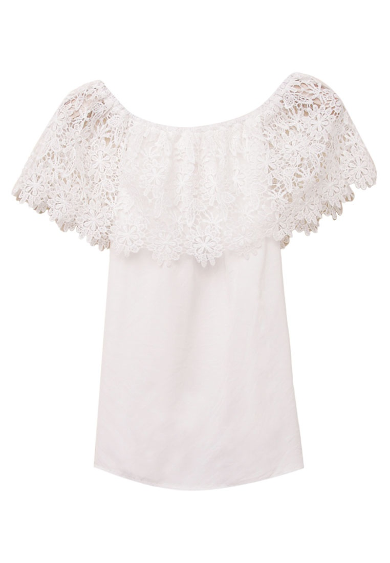 Off Shoulder Top Lace White Eyescream WfycF84W