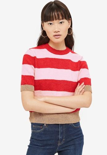 TOPSHOP 粉紅色 金屬感條紋上衣 B457AAA68640DEGS_1