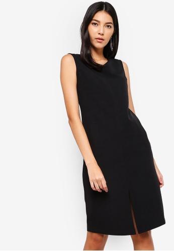 ZALORA black V-Neck Dress With Front Slit C0AFAAADBADE2DGS_1