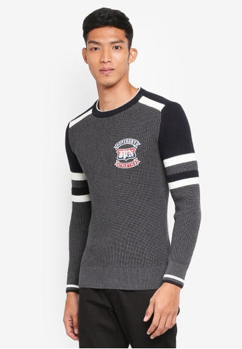 Superdry grey Athletic Textured Crew C8075AA2425546GS_1