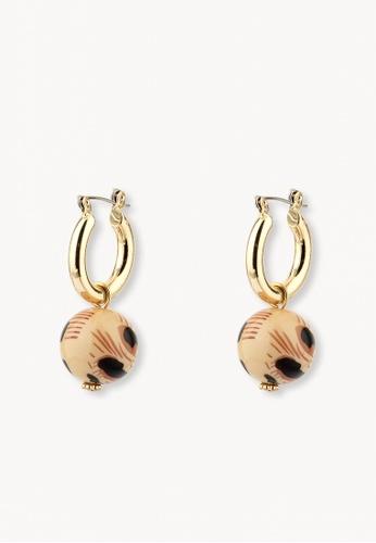 Pomelo brown Ball Drop Hoop Earrings - Brown 8E9C5AC0E43906GS_1