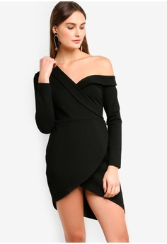 ba45516a8ef Lavish Alice black Ponte Off The Shoulder Asymmetric Mini Dress In Black  6EBAAAA9FA33BAGS_1
