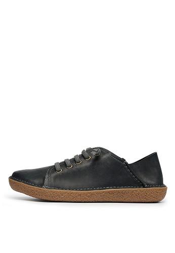 蠟感牛皮。2way後踩。esprit童裝門市膠底休閒鞋-04610-黑色, 女鞋, 休閒鞋
