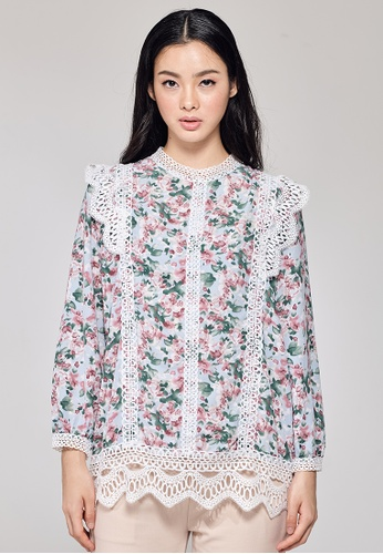 MC Vogue blue Blue Floral Printed Blouse with Front Lace 350E9AA094927AGS_1