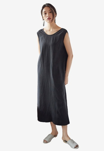 NAIN black V Front Shift Dress DB351AA896562CGS_1