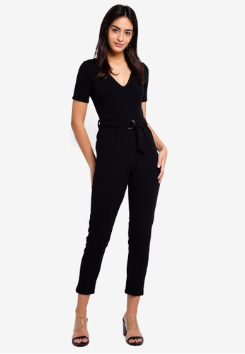 Dorothy Perkins 黑色 V Neck D Ring Jumpsuit B6CBAAA270CE8DGS_1