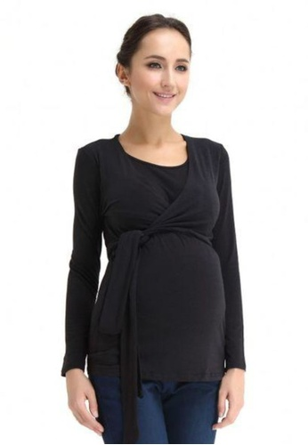 Bove by Spring Maternity black Knitted Long Sleeved Vicky Tie Up Top Black 3D1C2AA938C412GS_1