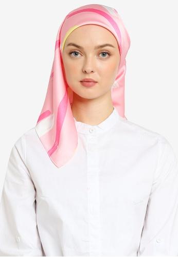 Hijabii 粉紅色 Moda Square Scarf in Geraldine 254B9AC461DB11GS_1