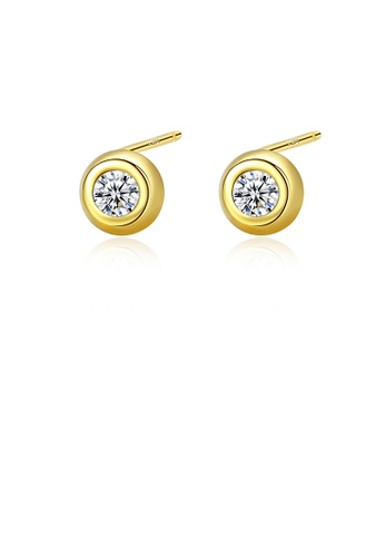 Glamorousky white 925 Sterling Silver Plated Gold Simple Classic Geometric Round Cubic Zirconia Stud Earrings D3041ACD00E702GS_1