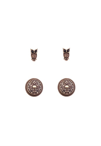 LUCCACAL brown 2 x Owl Stud Set LU294AC13TBEMY_1