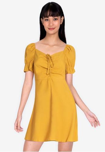 ZALORA BASICS yellow Sweetheart Neckline Mini Dress D6540AAAC50F6BGS_1
